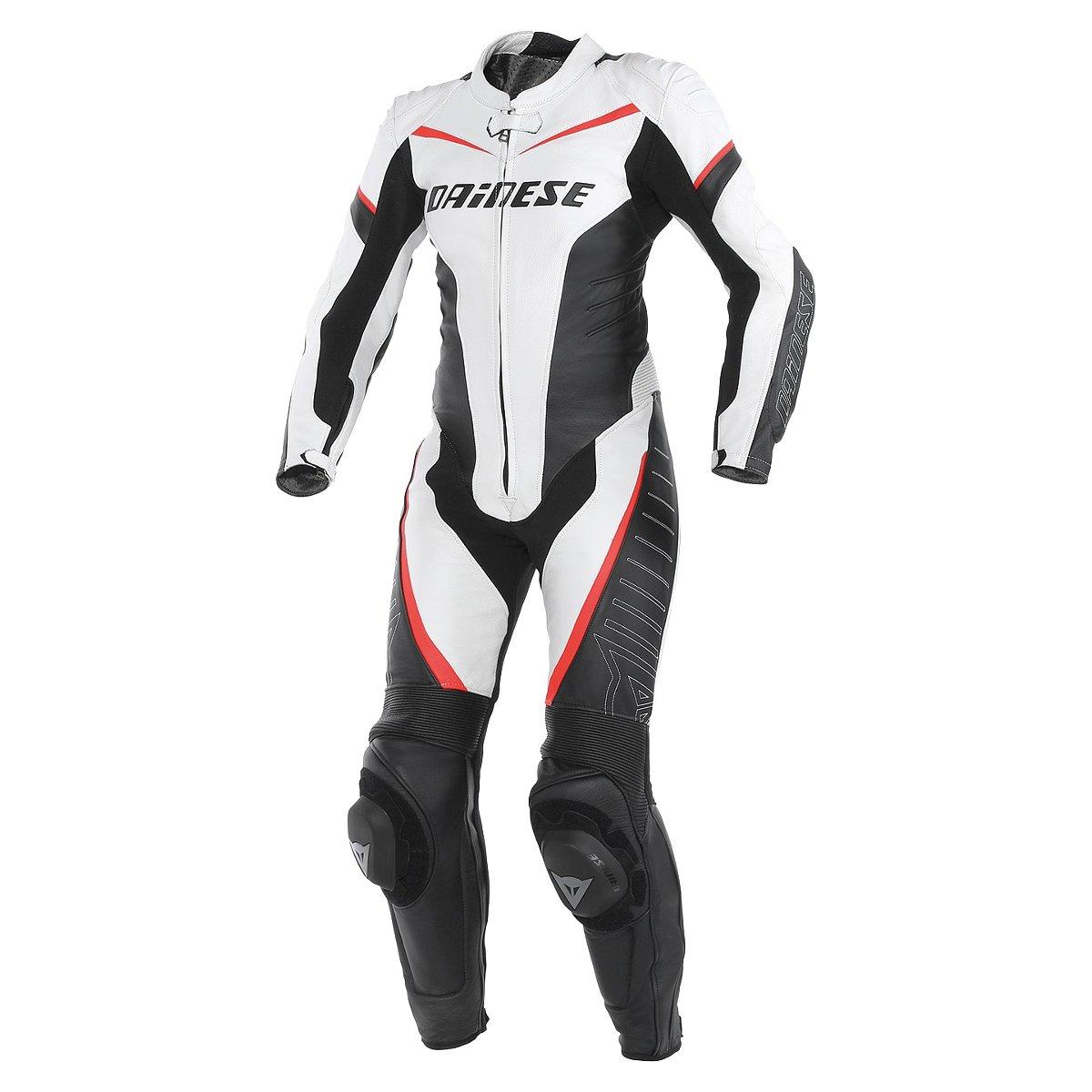 Tuta moto donna pelle Dainese Racing Bianco Nero Rosso