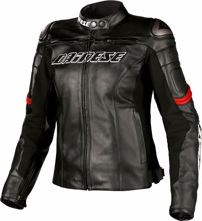 Dainese Racing Leather Motorcycle Jacket Women Lady Black Red