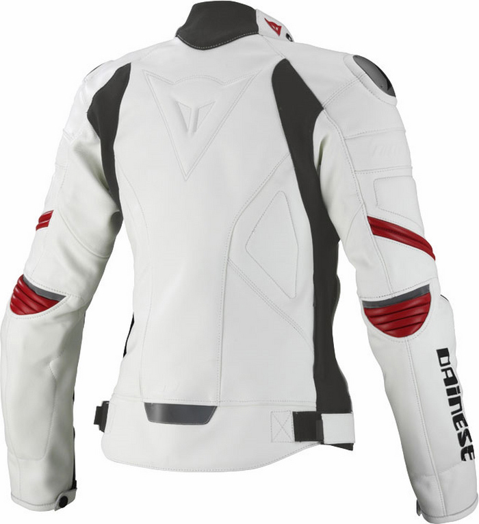 Giacca moto donna pelle Dainese Racing Lady Bianco Rosso