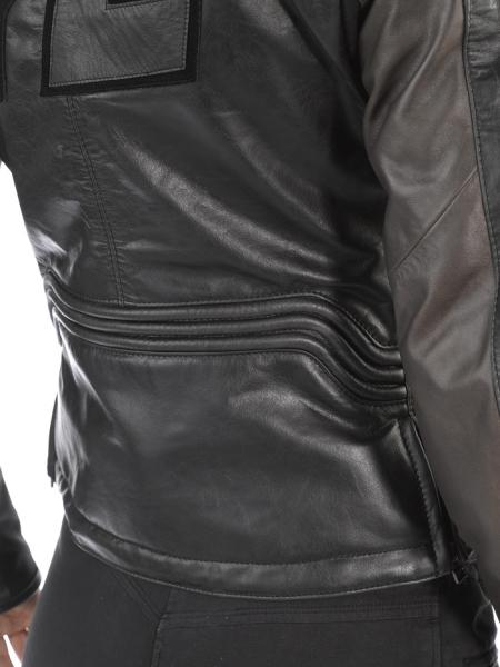 Giacca moto donna in pelle ARWEN PELLE LADY Nero-Ghiaccio