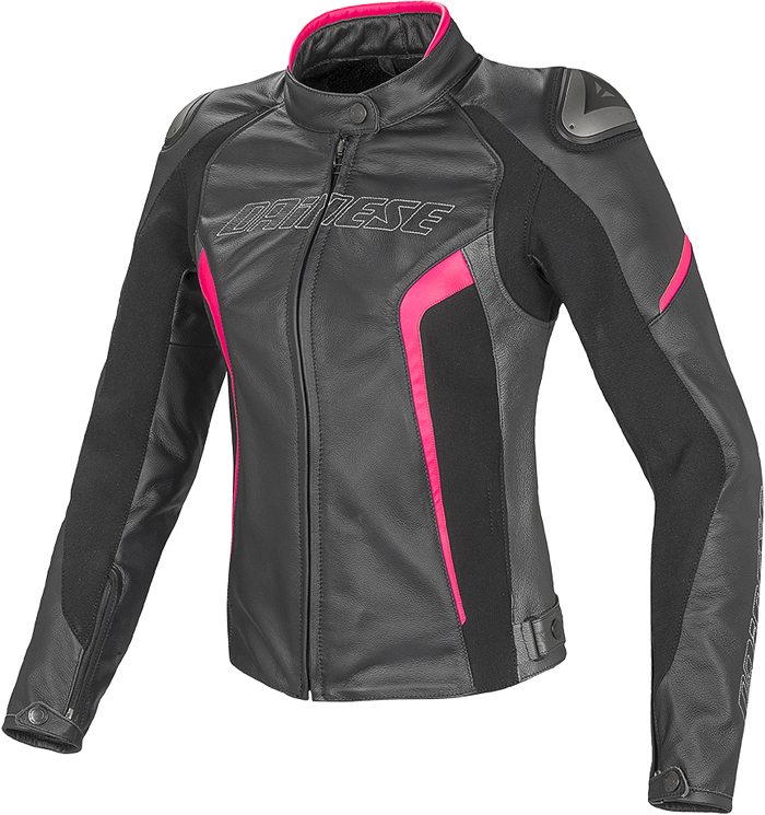 Dainese Racing D1 woman leather jacket Black Anthracite Fuchsia