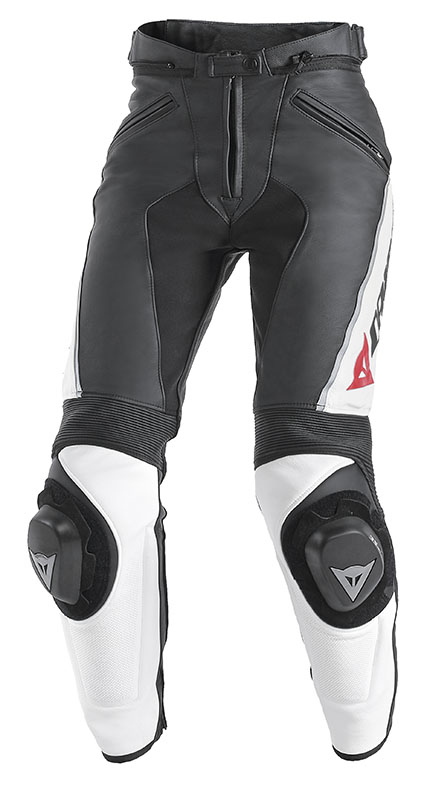 Pantaloni moto donna pelle Dainese Delta Pro C2 Nero Bianco