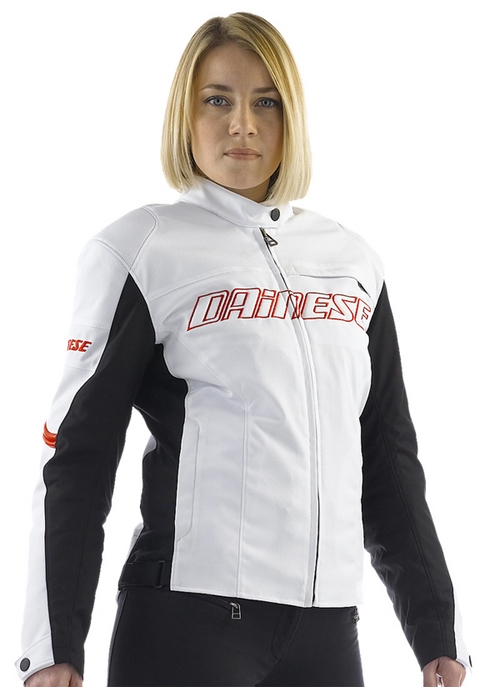 Dainese Racing Tex Lady women motorcycle jacket white-black