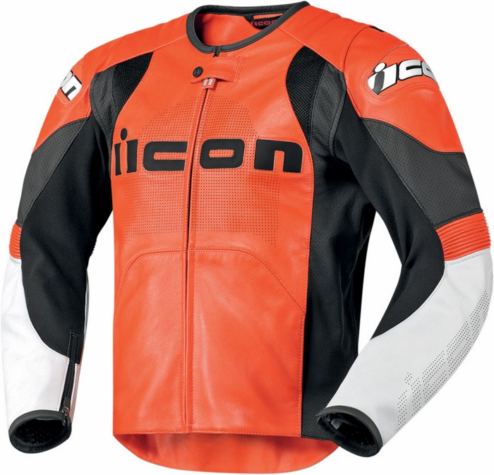 Leather motorcycle jacket summer Icon Overlord Prime Orange