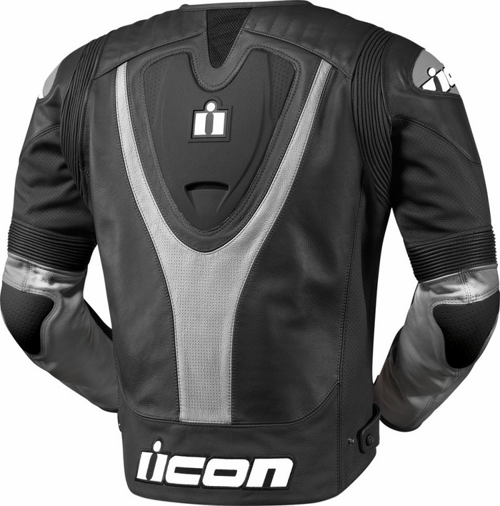 Leather motorcycle jacket summer Icon Overlord Prime Black Grey