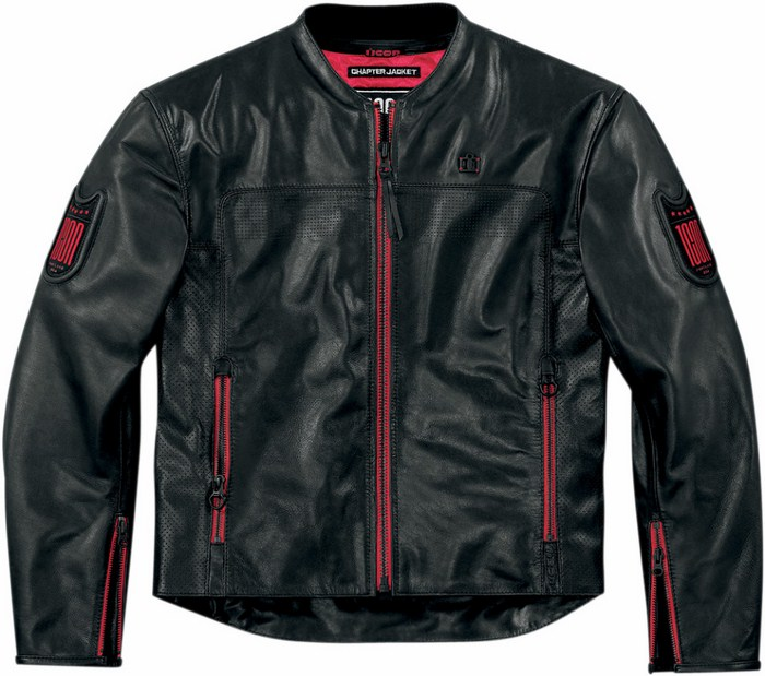 Giacca moto pelle Icon 1000 Chapter Nero