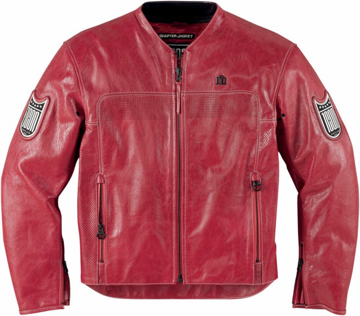 Leather motorcycle jacket Chapter Red Icon 1000