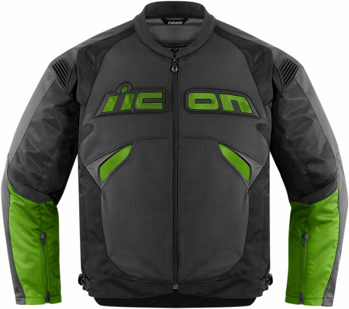Icon leather motorcycle jacket Black Green Sanctuary