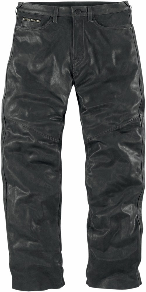 Leather motorcycle pants Icon 1000 Black Roughshod