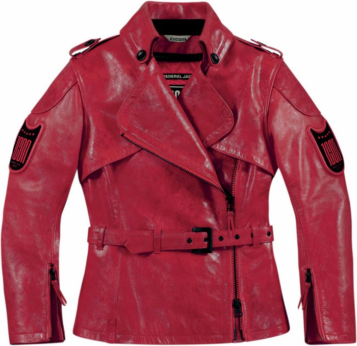 Women leather motorcycle jacket Red Icon 1000 Federal