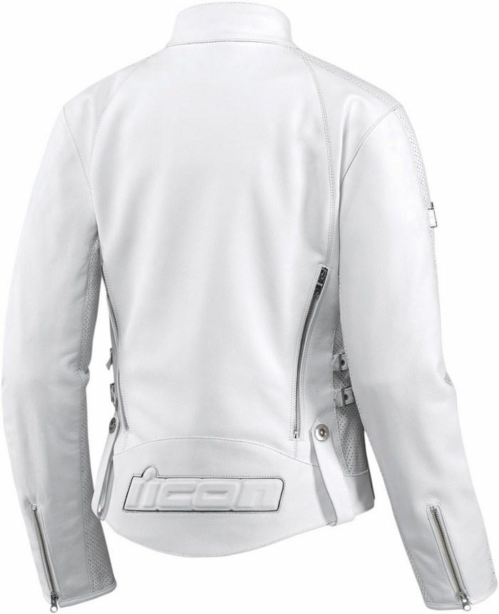 Women leather motorcycle jacket Icon Hella White