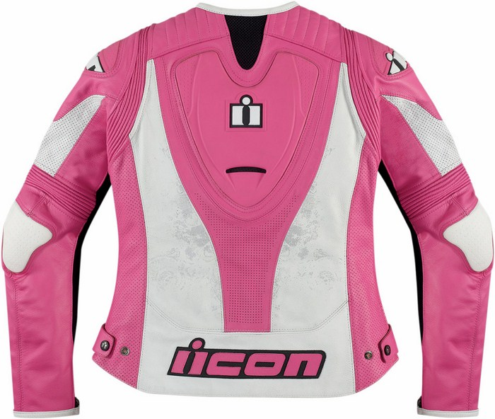 Giacca moto donna pelle Icon Overlord Prime Rosa
