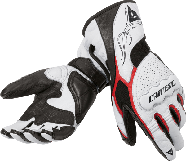 Dainese Dart Lady motorcycle gloves white-red-black