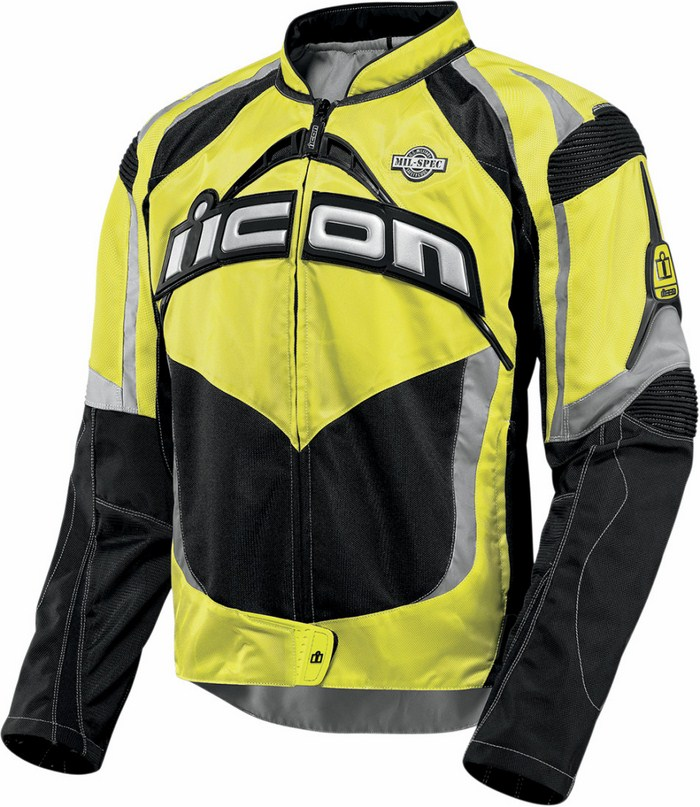 Summer motorcycle jacket Icon Contra Mil-Spec Yellow fluo