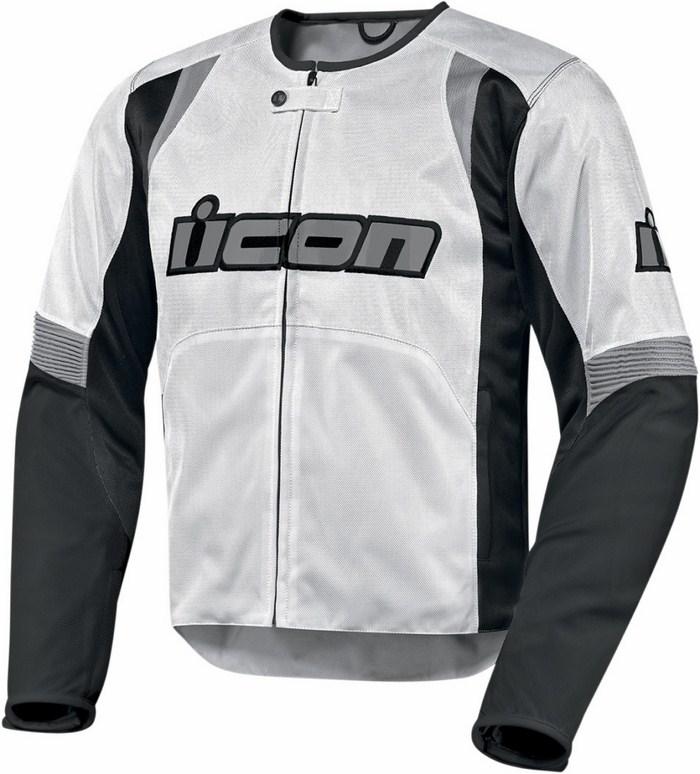 Giacca moto estiva Icon Overlord Textile Bianco