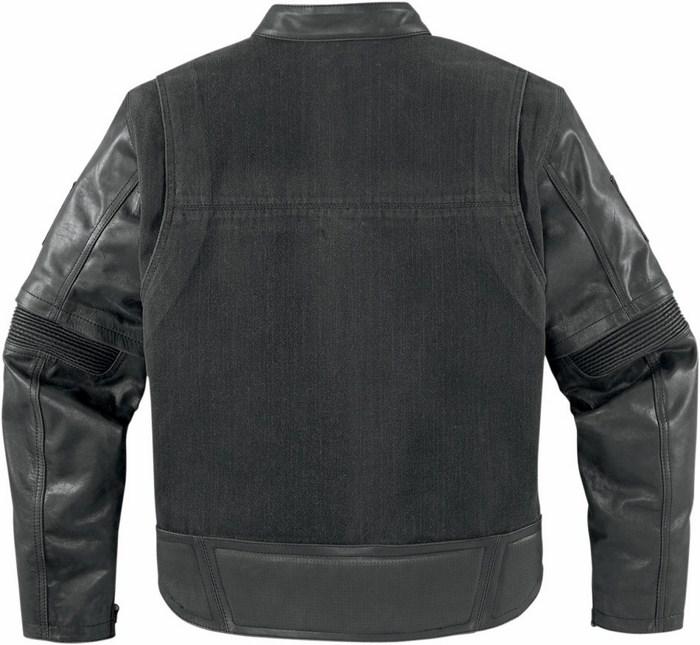 Giacca moto pelle Icon 1000 Outsider con maniche staccabili Nero