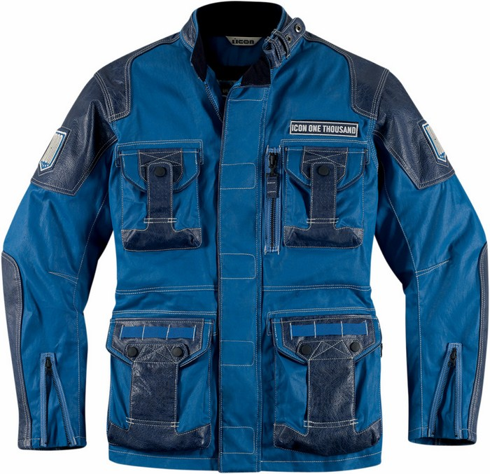 Leather motorcycle jacket 1000 Beltway Icon Blue