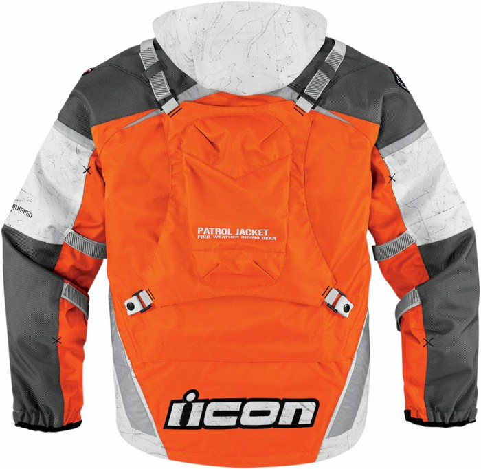 Giacca moto impermeabile Icon Patrol Raiden Waterproof Arancio