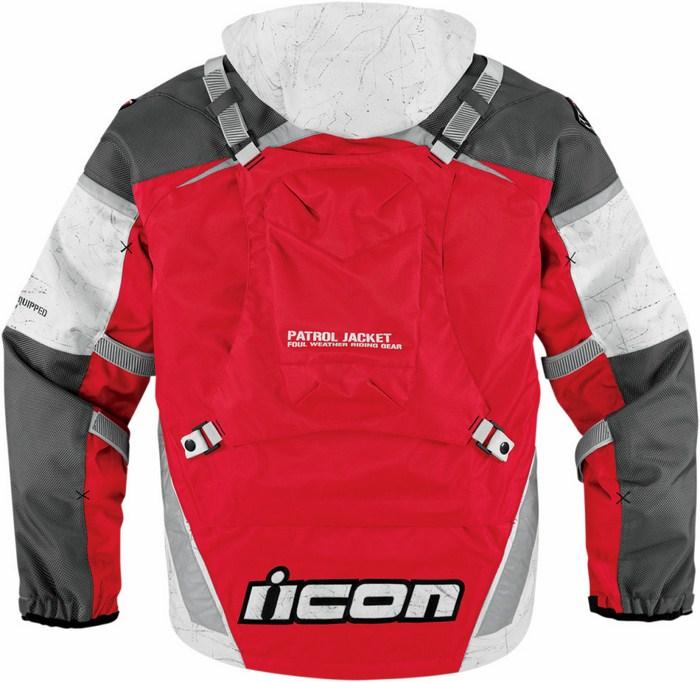 Icon Patrol Waterproof Motorcycle Jacket Waterproof Red Raiden