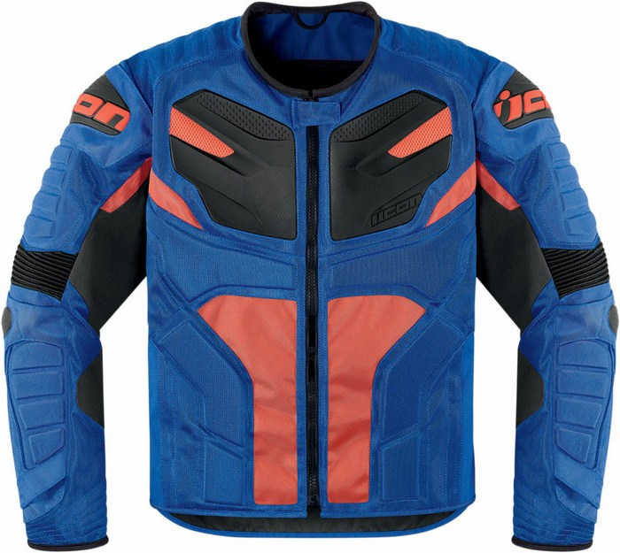 Icon Overlord Motorcycle Jacket Blue Resistance