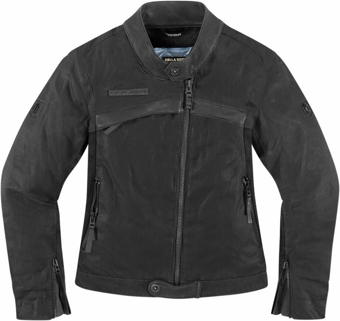 Women leather motorcycle jacket Icon Hella 1000 1000 Black