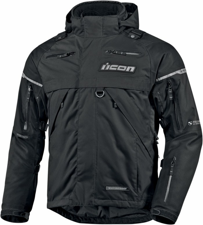 Giacca moto impermeabile Icon Patrol Waterproof Nero