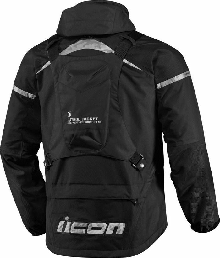 Icon Patrol Waterproof Motorcycle Jacket Waterproof Black
