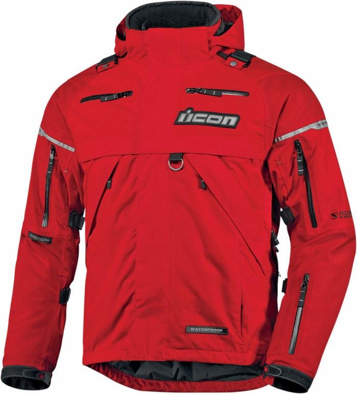 Icon Patrol Waterproof Motorcycle Jacket Waterproof Red