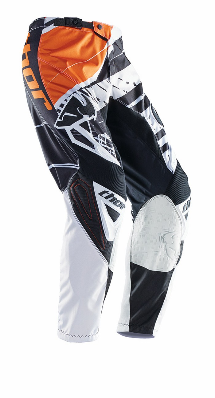 Pantaloni cross Thor Phase Mask bianco nero arancio