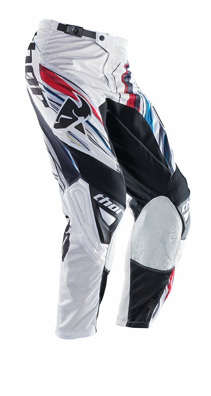 Pantaloni cross Thor Phase Vented Wired rosso bianco nero