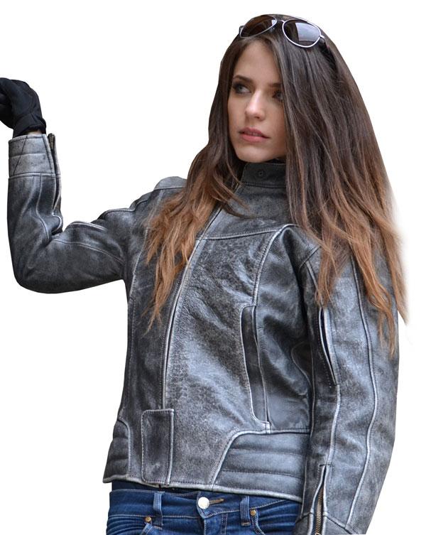 Giacca moto donna in pelle Jollisport Rose vintage