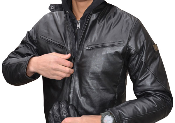 Leather motorcycle jacket black Jollisport Bucky