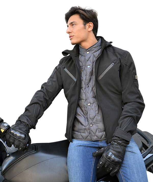 Motorcycle jacket in softshell Jollisport Black Duke