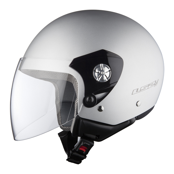 Casco jet LS2 OF518 Midway silver opaco