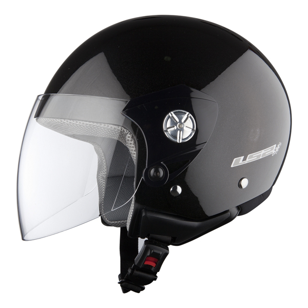 Casco jet LS2 OF518 Midway nero lucido
