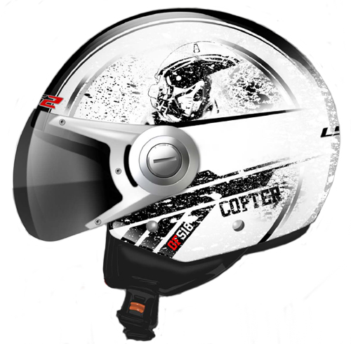 LS2 OF518 Copter jet helmet Gloss White