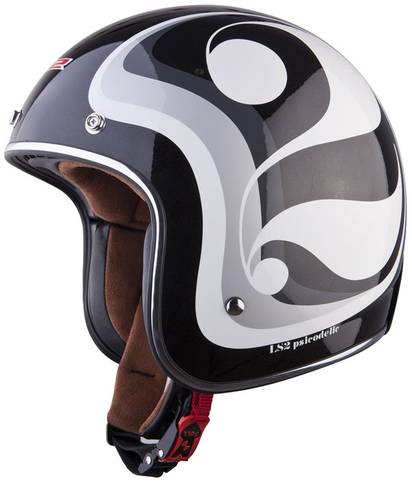 Casco jet LS2 OF583 in fibra Psicodelic nero