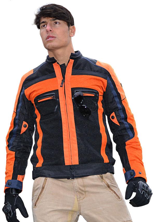 Giacca moto estiva Jollisport Plus nero arancio