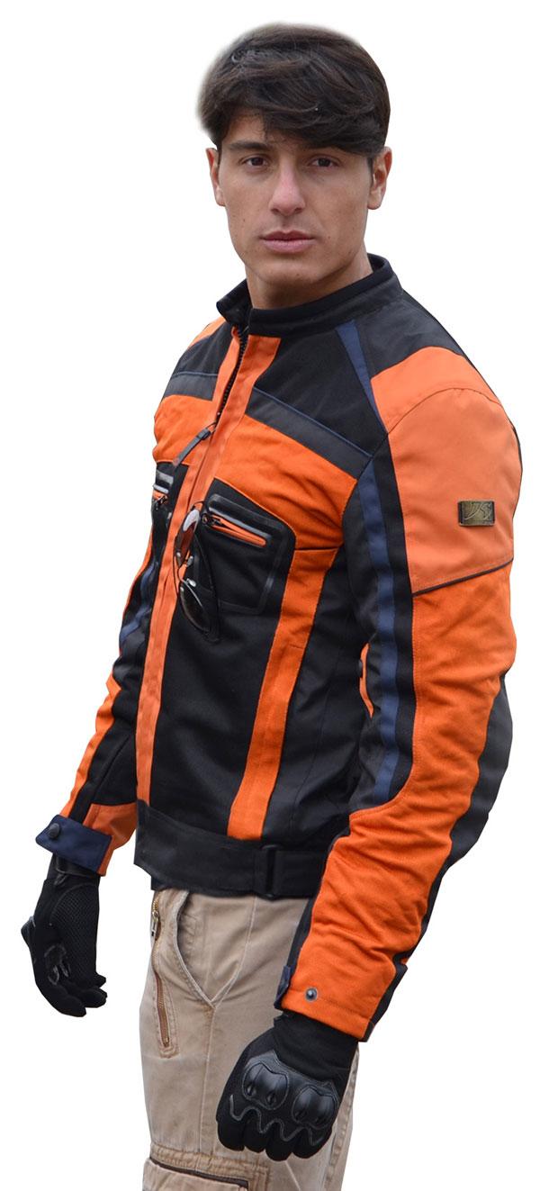 Jollisport Plus summer motorcycle jacket black orange