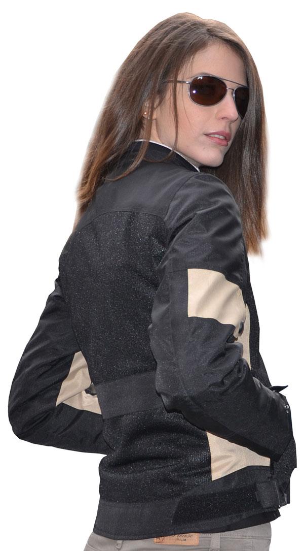 Giacca moto estiva donna Jollisport Margaret nero beige