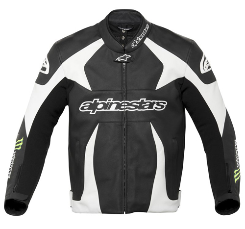 Giacca moto pelle Alpinestars Monster SCREAM Nero-Verde-Bianco