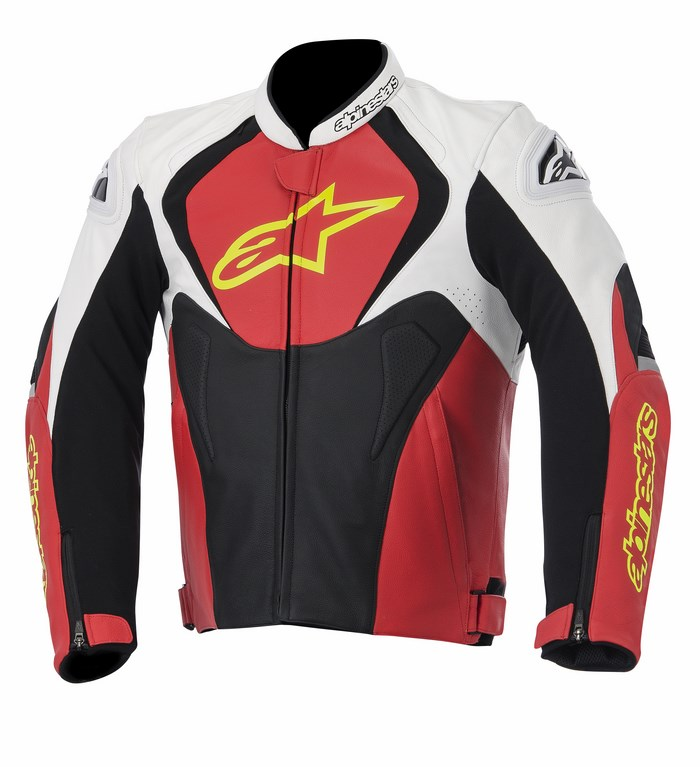 Giacca moto pelle Alpinestars Jaws bianco rosso giallo fluo