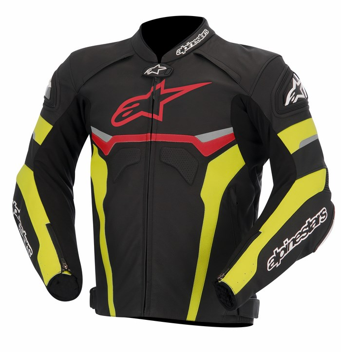 Alpinestars Celer leather jacket black red yellow fluo