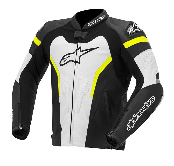 Alpinestars GP Pro leather motorcycle jacket Black White Fluo Ye