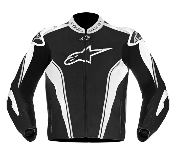 Leather motorcycle jacket Alpinestars GP Tech Black Silver White