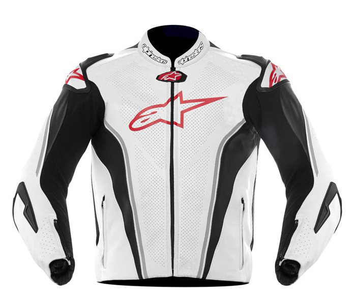 Leather motorcycle jacket Alpinestars GP Tech White Black Red