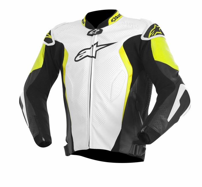 Alpinestars GP TECH leather jacket white black yellow fluo