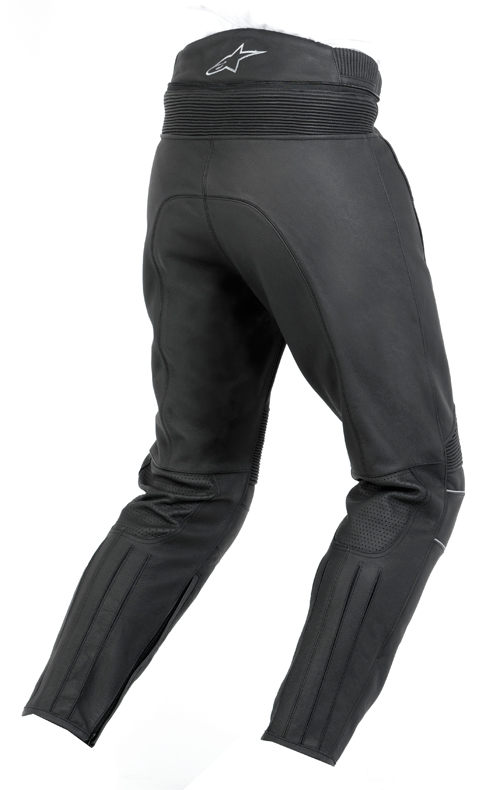Pantaloni moto pelle Alpinestars Bat neri