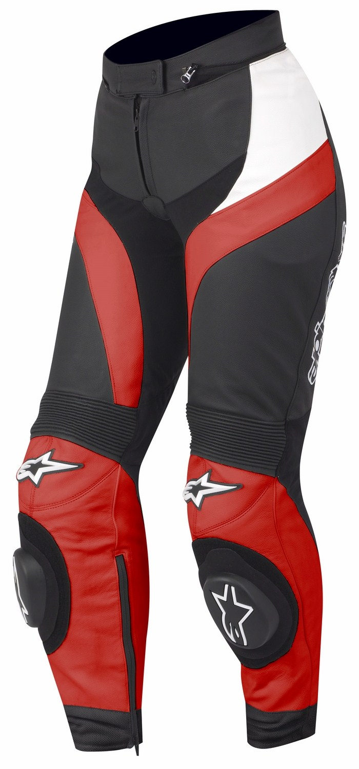 Pantaloni moto pelle donna Alpinestars Stella GP Plus Rosso Bian