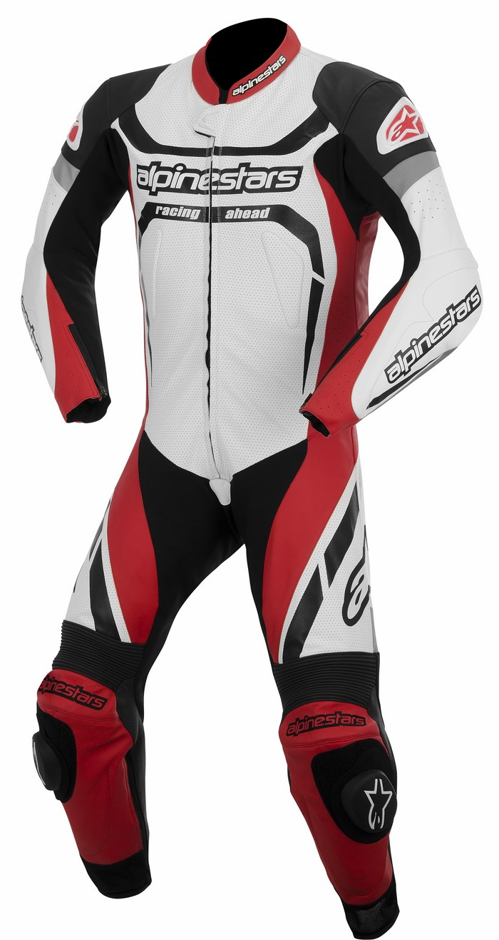Alpinestars Motegi one piece leather suit black white red